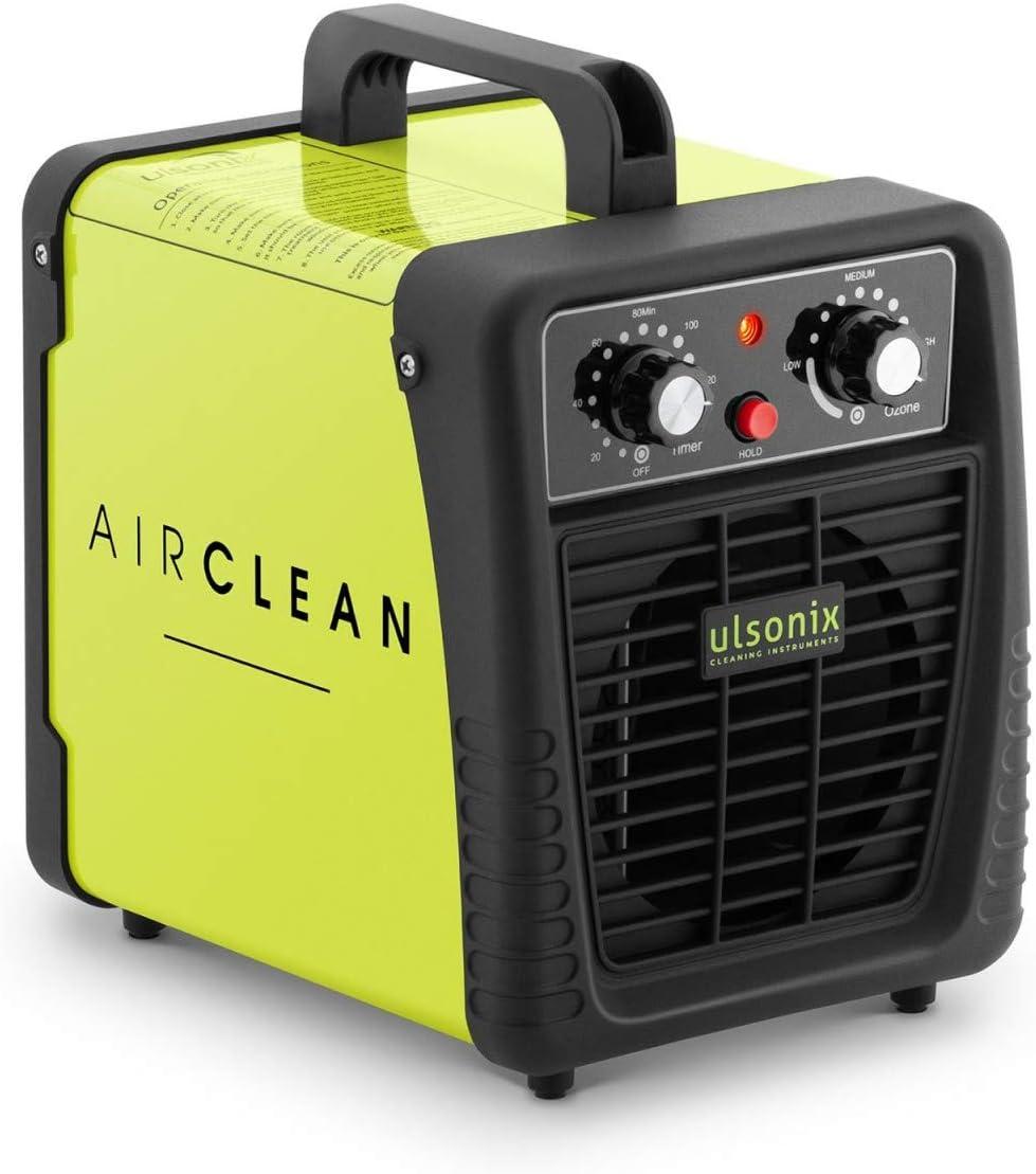 Ulsonix Generador de ozono profesional AIRCLEAN 10G-ECO Purificador aire Ozonizador Maquina de ozono 500-10000 mg/h Temporizador 60 min, 95 Watt