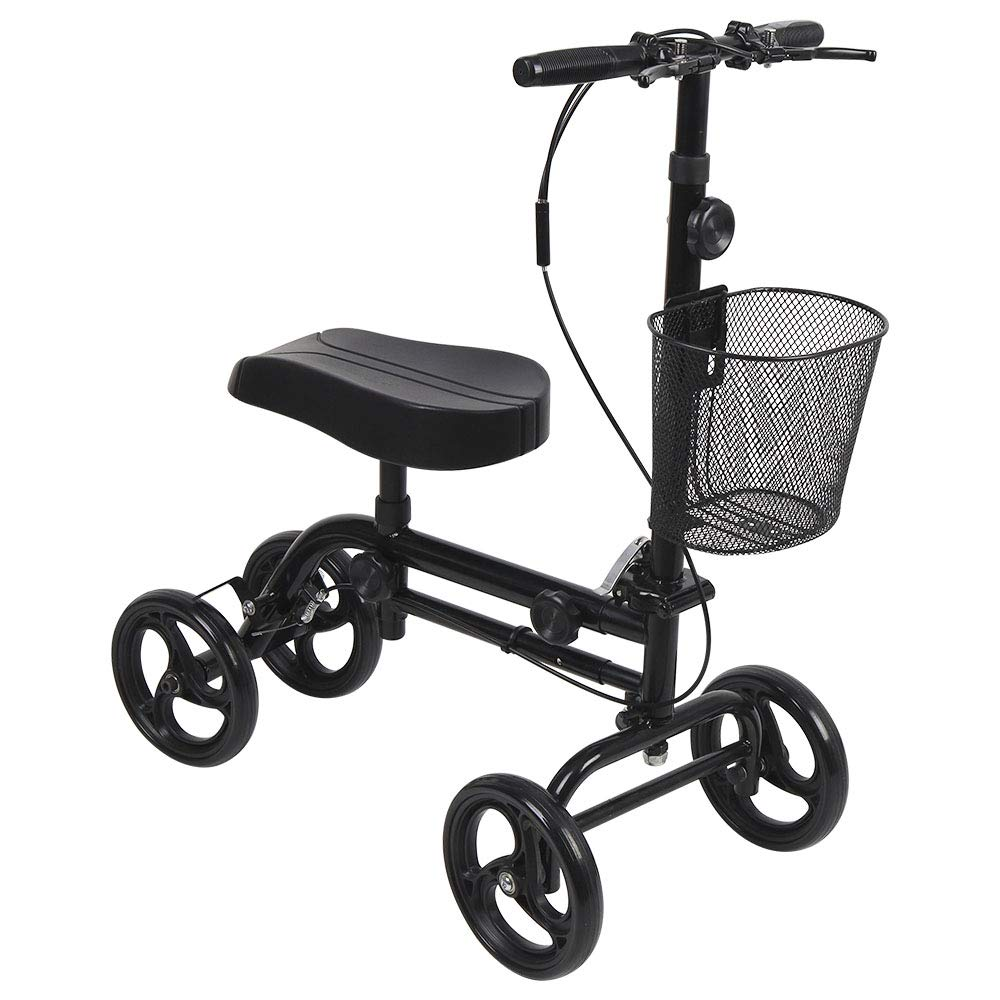 Knee Scooter, Give Me Steerable Knee Walker Crutch Alternative with Basket and Dual Hand Brake (Black) by Give Me