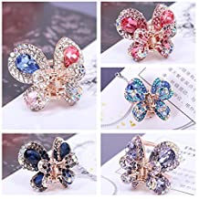 "Casualfashion 4Pcs Elegant Women's Crystal Rhinestone Hair Claws Cute Butterfly Flying Hair Jaw Clips Accessories 0.98"" × 0.91"""