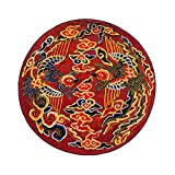 Round rugs Chinese style phoenix pattern carpet living room retro chair mats ( Color : A , Size : 100cm )