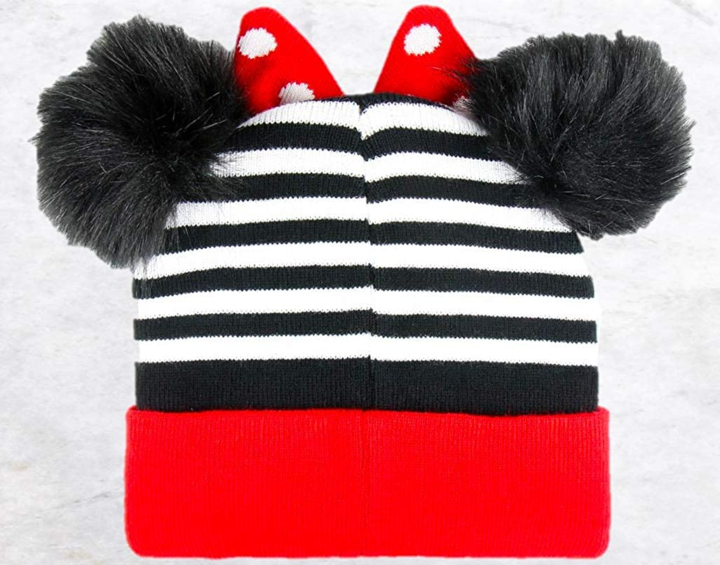 Minnie Mouse Gorro para Ni/ñas | Disney Dise/ño De Punto Gorro C/álido Y Acogedor De Invierno