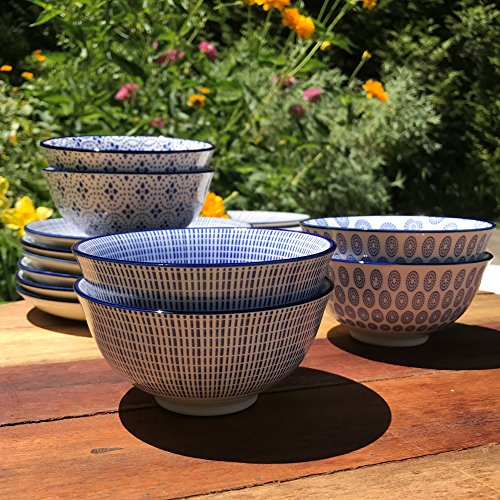 The Summertime Blue and White Rice Bowls, Set of 6, 2 Trellis, 2 Rounds and 2 Stripes, Footed Base, Stoneware, 8 Fluid Ounces, By Whole House Worlds