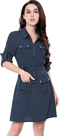 Allegra K Women's Roll Up Sleeves Multi-Pocket Safari Belted Collared Shirt Dress