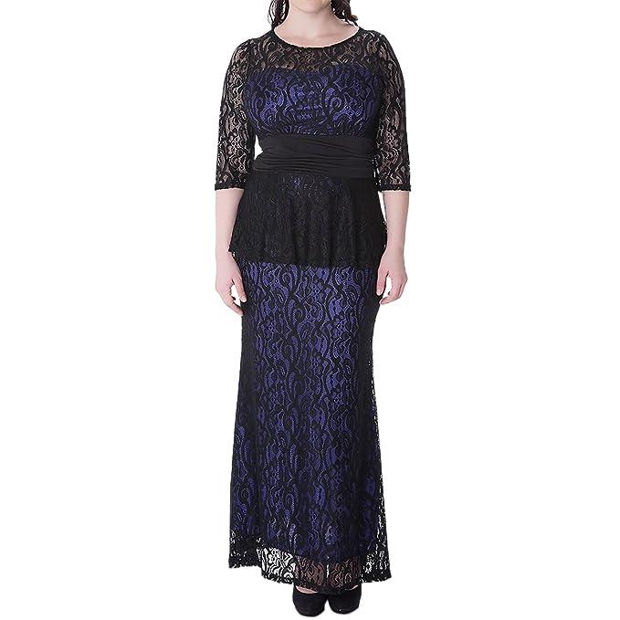 Sue&Joe Women\'s Maxi Dress Plus Size Lace Peplum Empire Waist Formal  Evening Gown