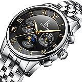 Bestn Men's Mechanical Watch Automatic Moon Creative Waterproof Calendar Weekly,Roman Numeral Business Casual Stainless Steel Strap(Black