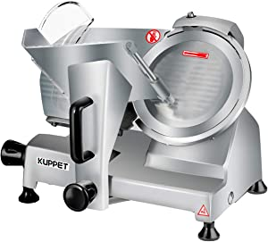 Meat Slicer, Kuppet Electric Food Slicer, Removable 10'' Stainless Steel Blade and Food Carriage, Deli Food Slice Adjustable Thickness Food Slicer Machine for Meat, Cheese, Bread(240W)