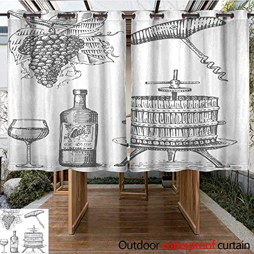 RenteriaDecor Home Patio Outdoor Curtain Press for Grapes Sketch Corkscrew Wine Bottle and Glass in Vintage Style Engraved Woodcut Illustration W108 x L72