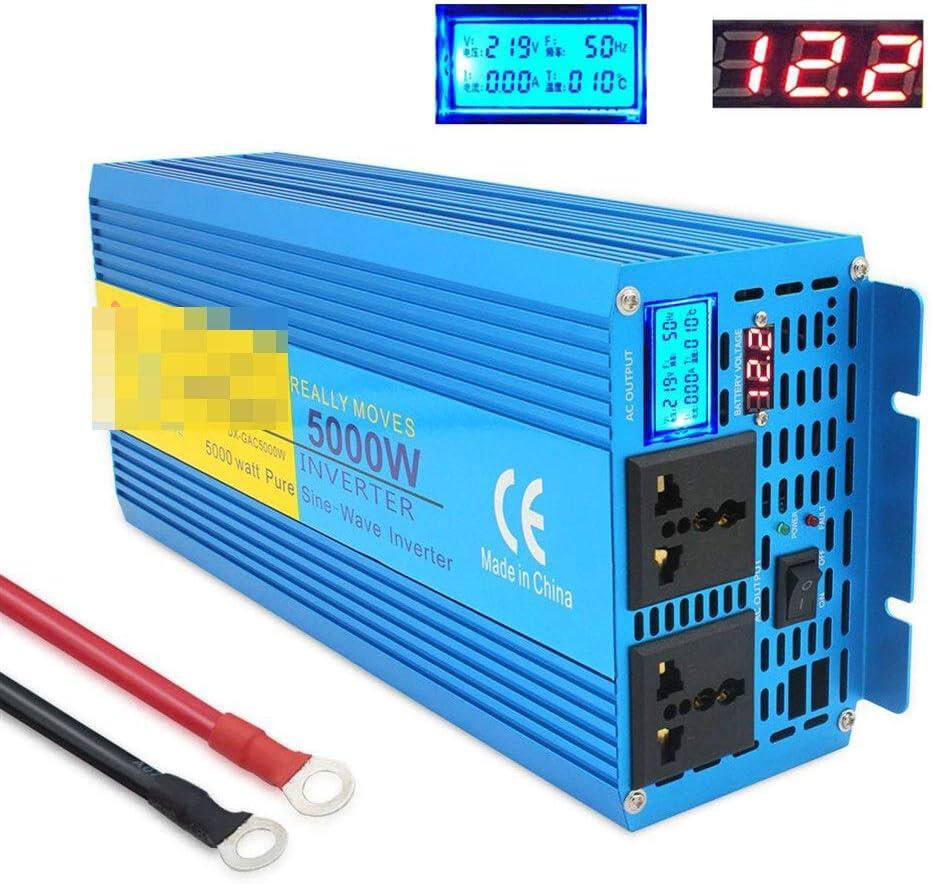 Zfggd 5000W de Onda sinusoidal Pura Potencia inverte Pantalla Digital DC 12V / 24V a AC 220V 50Hz / 60Hz Camping Barco SINEWAVE Solar Supply convertidor (Size : 24V 220V 50Hz)