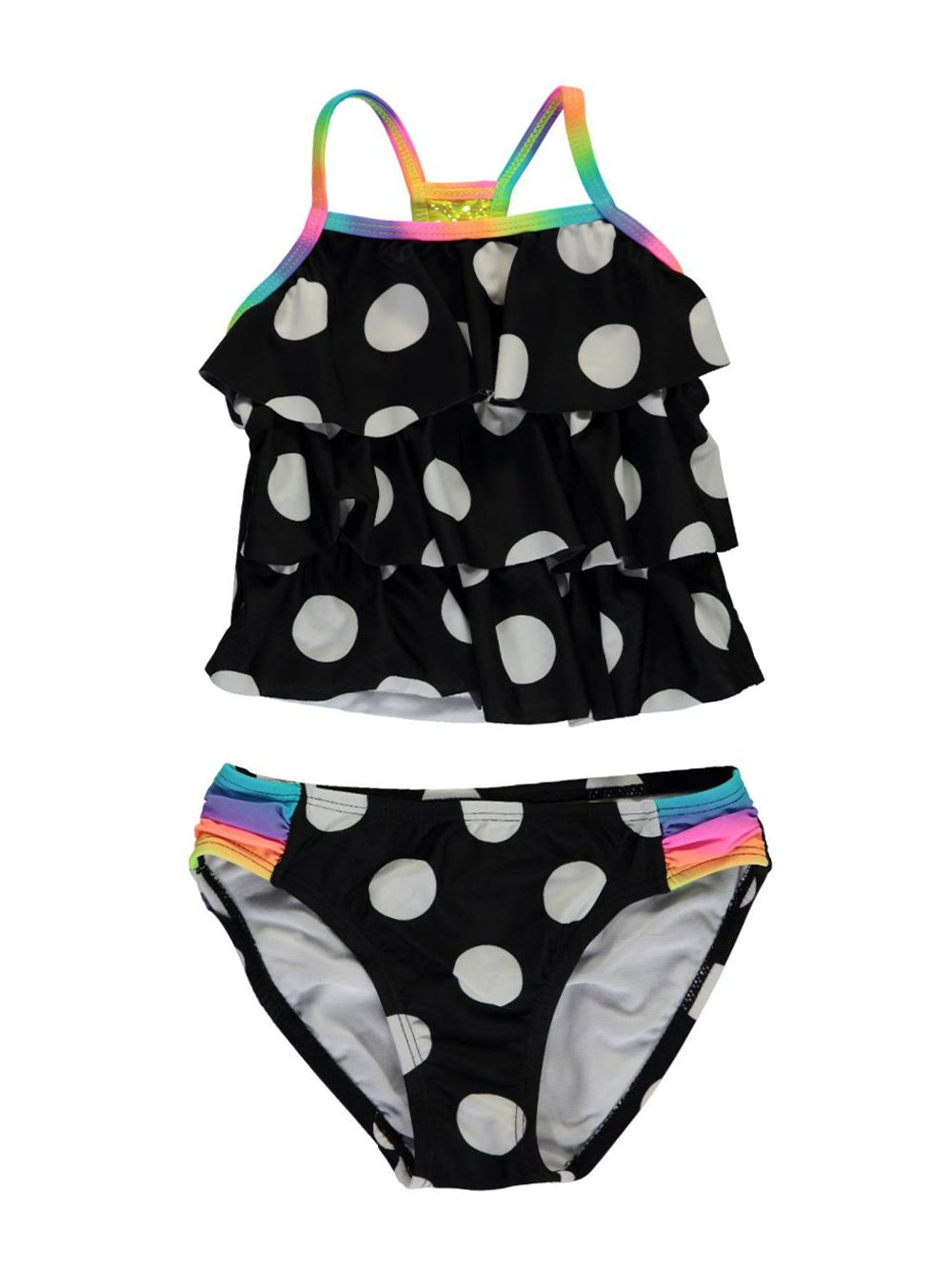 Breaking Waves Little Girls' Polka Dots Tankini Swimsuit, Black, 5