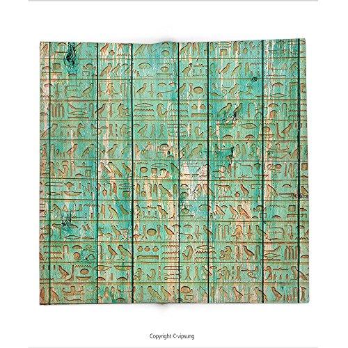 Custom printed Throw Blanket with Egypt Decor Ancient Hyeroglyphs Icons on Wooden Board Mystic Egyptian Mummy Motherland Image Seafoam Super soft and Cozy Fleece (Halloween Mummy Pigs Blanket Recipe)