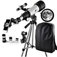Telescope 70mm Apeture Travel Scope 400mm AZ Mount - Good Partner to View Moon Planet - Good Travel Telescope Backpack Kids Beginners