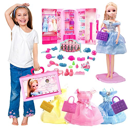 GILI Girls Dolls & Playset, Pretend Play Toys for Girls 4 yr-8yr| Dolls Wardrobe Closet with Fashion Accessories| Best Princess Gifts for Girls Age 4, 5, 6, 7 and Up