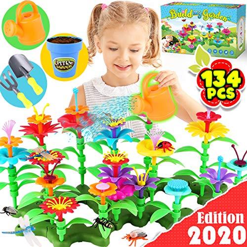 GoodyKing Flower Garden Building Toys for Girls – STEM Toy Gardening Pretend Gift for Kids – Stacking Game for Toddlers…