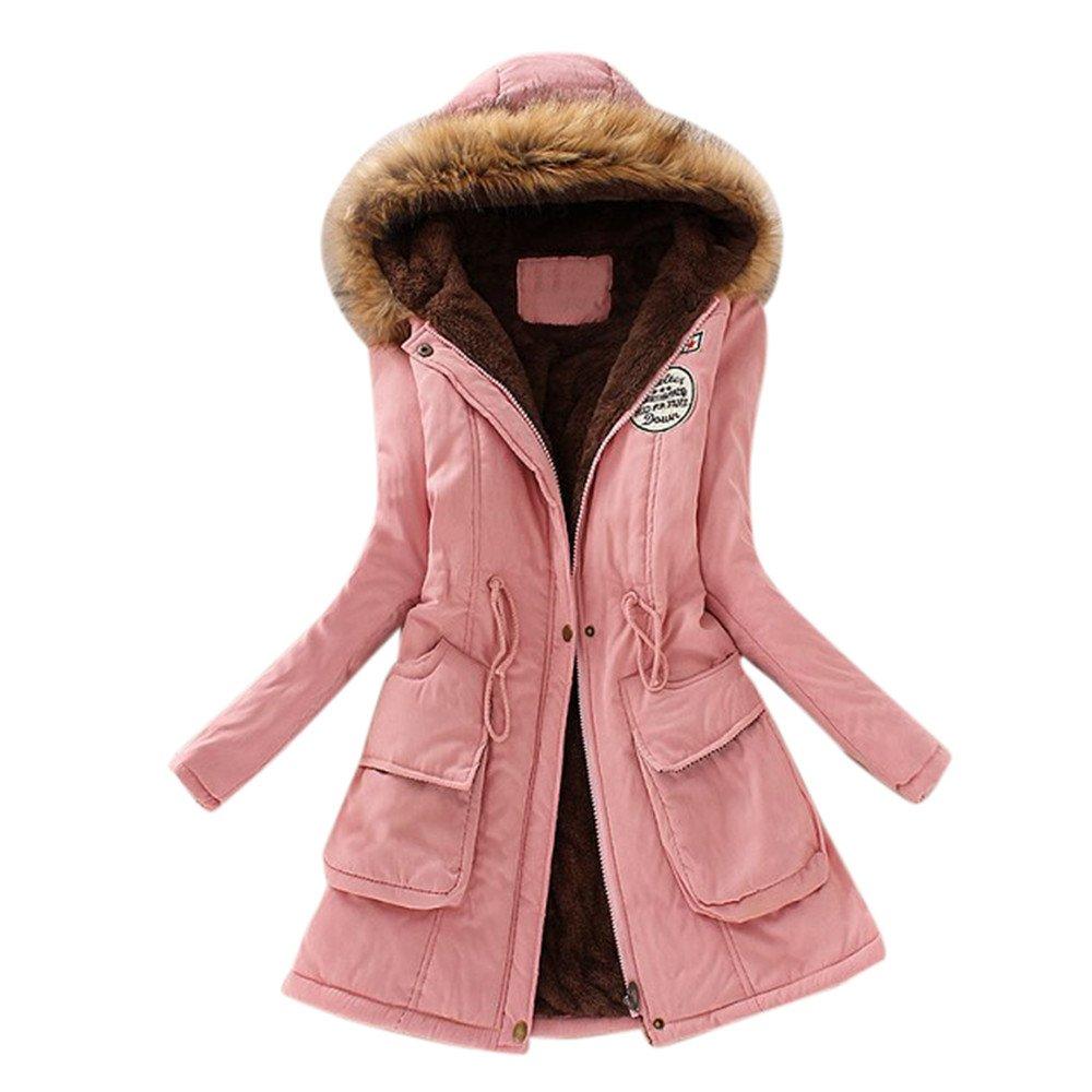 VANSOON Women Long Coat Knitted Casual Fur Collar Hooded Jacket Slim Winter Parka Outwear Overcoat