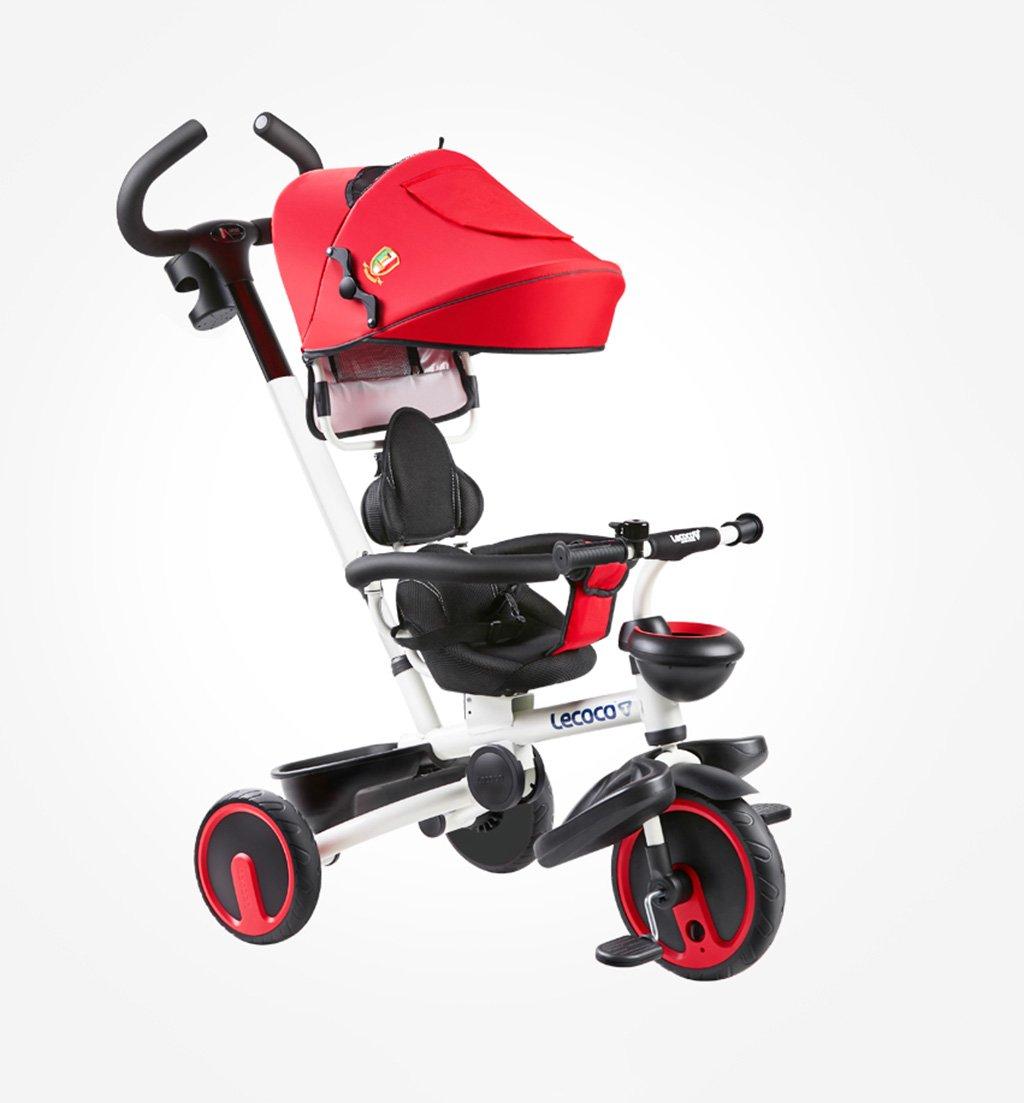子供用三輪車1-5歳バイクフォールディング/静か/回転ベビーキャリーベイビーハーネスベビーベビーカーRed25 Kg B07F38V3PL