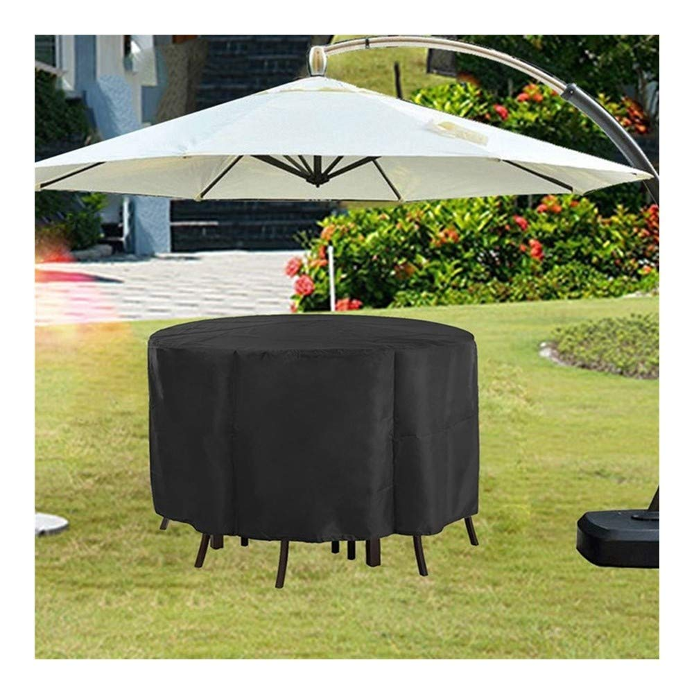FQJYNLY Garden Furniture Cover Outdoor Sun Protection Equipment Table and Chair Set Protection 600D Oxford Cloth Windproof Dustproof UV Protection, 17 Sizes (Color : Black, Size : 135×135×75cm) by FQJYNLY-Patio Furniture Covers