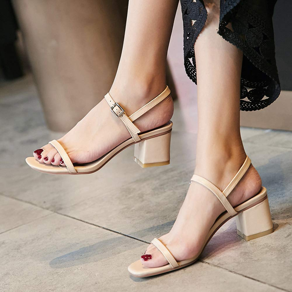 - XLBHSH Damenschuhe Sandalen  Sandaletten High Heel Sandaletten Niedrige Niedrige Niedrige Absatz mit schnallen syntetische Sandalen,Flesh,38 7c3