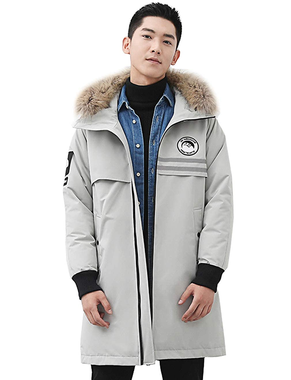 794d58728 Mens Winter Down Jacket Hooded Grey Goose Feather Duck Down at ...