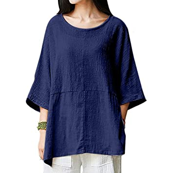 HOSOME Women Top Womens Casual Loose Short Sleeve Round Collar Cotton Linen Tops Shirts Blouse