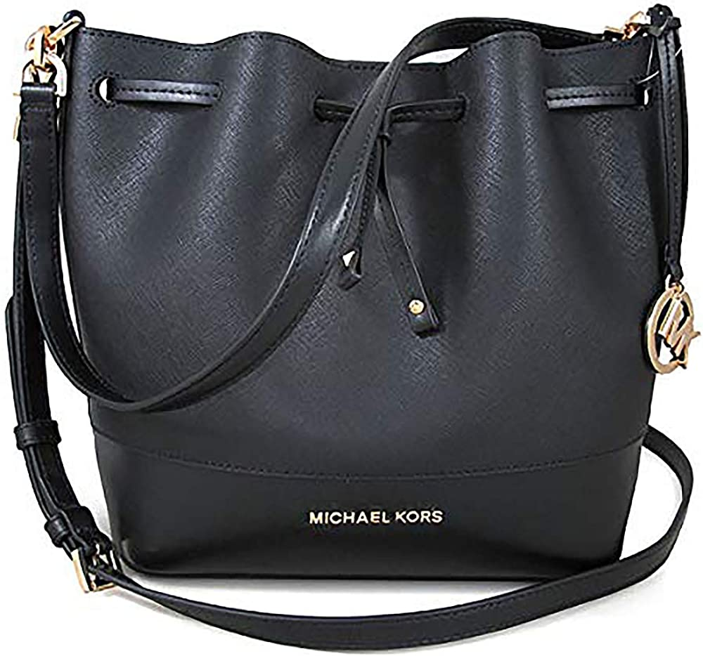 Michael Kors Women Trista Medium Bucket Messenger Leather Hand Bag, Black, N/S