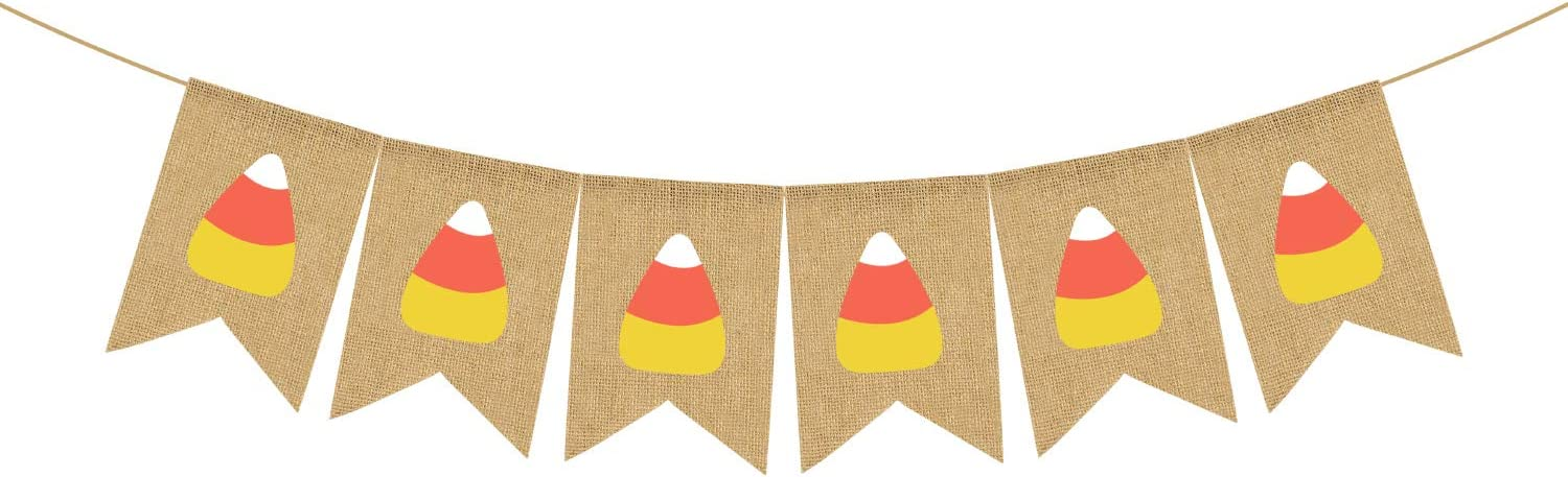 Jute Burlap Candy Corn Banner Fall Halloween Thanksgiving Day Party Fireplace Mantle Decoration