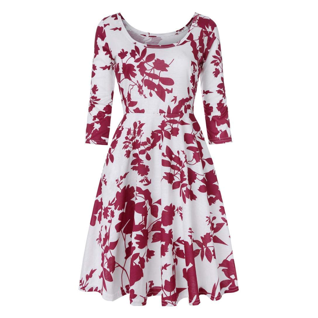 Vibola Dress for Women, Floral Printing Three Quarter Sleeve A Line Party Dress (L, Red)