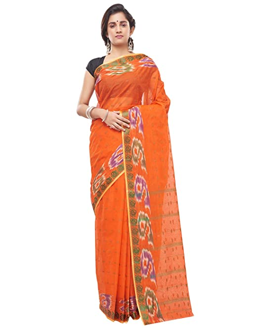 e200ac422b643 Slice of Bengal Handloom Pure Cotton Taant Tant Tangail Saree Sari for  Women Orange 05011224011033  Amazon.in  Clothing   Accessories