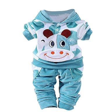 ddd70a934567 Fineser TM Toddler Baby Girls Boys Cute Cartoon Cow Velvet Warm Hooded Tops+Pants  Suits