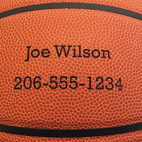 Personalized Basketball - Baden Game Approved Basketball - Your Name and Phone Permanently Laser Marked - 29.5