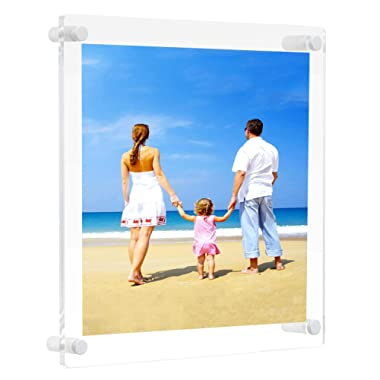 NIUBEE Clear Acrylic Wall Mount Floating Frameless Picture Frame Up to 12x12 Photo for Poster Photography Frames-Double Panel(Full Frame is 15x15 inch)