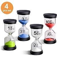 Sand Timer EMDMAK 4 Colors Hourglass Sandglass Timer 1min / 3mins / 5mins / 10mins for Games Classroom Home Office Decoration (Pack of 4)