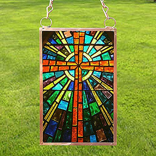 (Sun Catcher, Stained Glass Cross, Religious, Copper Framed Glass, 2.5