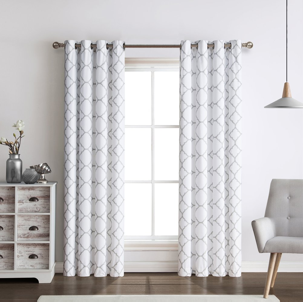 2 Pack: Regal Home Collections Meridian Energy Efficient/Room Darkening/Noise Reducing/Thermal Lattice Chic Foamback Grommet Curtains - Assorted Colors (Grey) by Regal Home Collections