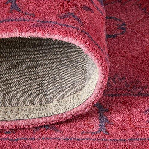 Rivet Pink Global Floral Wool Rug, 4' x 6', Pink