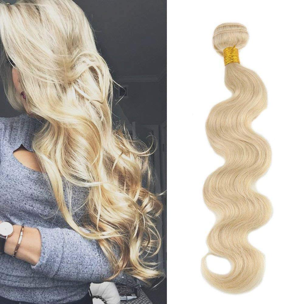 Full Hair Full Head 16'' 100% Remy (Remi) Human Hair Weft Weave Extensions Body Wave Blonde Hair (Color #613) 100g Each Bundle by Full Shine