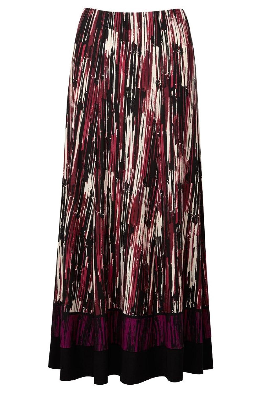 Lavitta - Women's - Wine Stripe Border Print Maxi Skirt - 12-24 - Plus Size