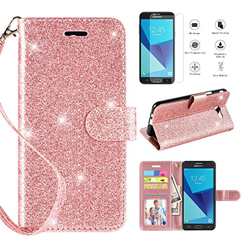 Samsung Galaxy J7 2017 Case,J7 Prime/J7 Perx/J7 V J7V/J7 Sky Pro/Galaxy Halo Wallet Case w Screen Protector, Glitter Bling Kickstand Leather with Magnetic Closure Wristlet Strap Cover,Rosegold