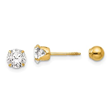 1cf4a2987 Image Unavailable. Image not available for. Color: 14K Yellow Gold Madi K Children's  5 MM Reversible CZ 5 MM Ball Screw Back Stud