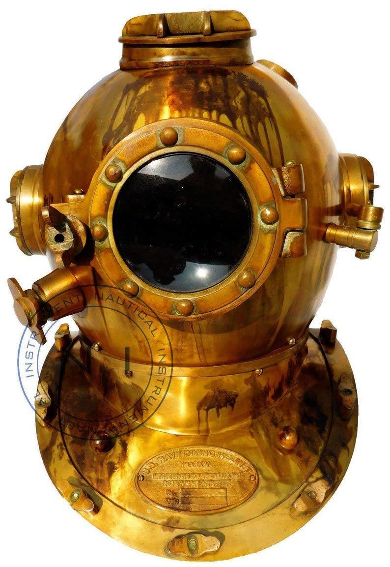 Royal Victorian Export 18'' Brass Antique Scuba SCA Marine Diving Divers Helmet US Navy Mark V Full Size