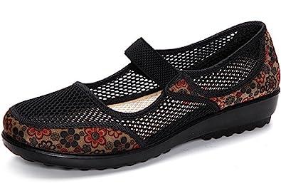 0cbd2f6614a52 Clarsunny Women's Casual Mesh Mary Jane Slip-on Sandal Flat Dance Shoes