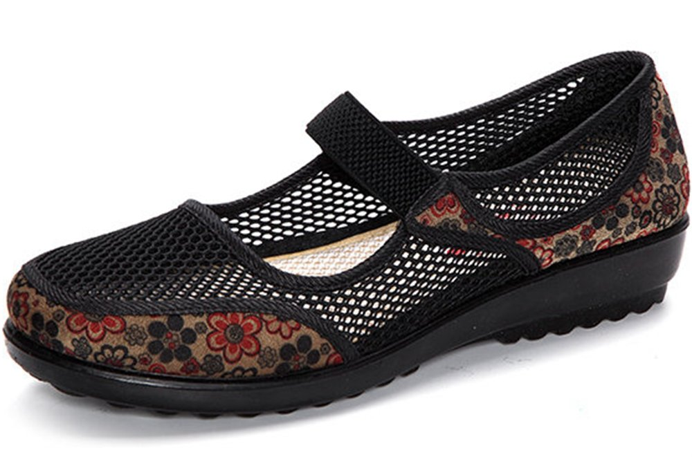 Clarsunny Women's Casual Mesh Mary Jane Slip-on Flat Dance Shoes (10 B(M) US, Black)
