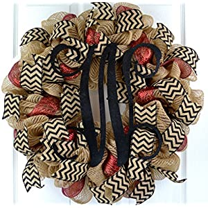 Monogram Wreath | Jute Burlap and Maroon Black Burlap Chevron Letter Initial Wreath | Wedding Gift 85