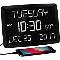 """11.5"""" Digital Wall Clock,Large Calendar Day Clock,Impaired Vision LED Desk Alarm Clock with 3 Alarms,Date,Temperature,5…"""