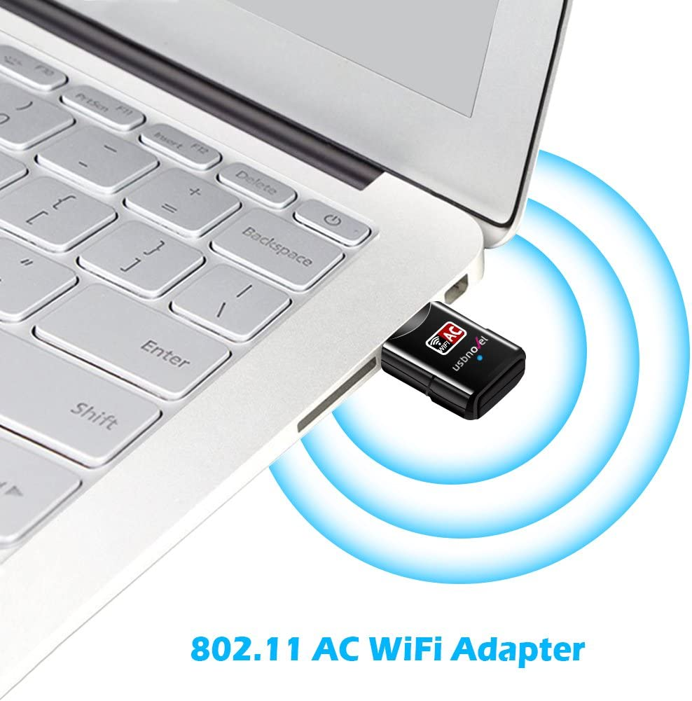 USBNOVEL USB WiFi Adapter-Dual Band 2.4G//5G WiFi Dongle 802.11 ac Mini Wireless Network Card 600Mbps with High Gain Antenna for  PC Laptop Desktop Windows XP//Vista 7-10 Mac