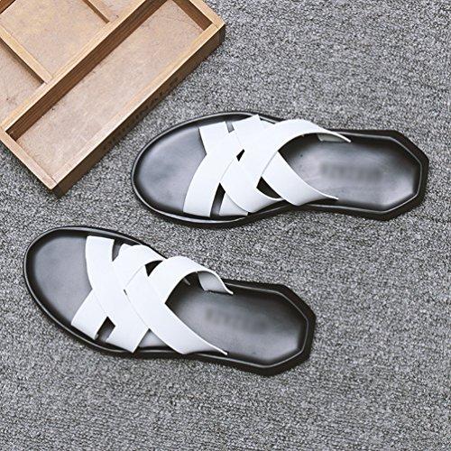 Uomo Libero Tempo Pantofole Sandali Yujeet Vecchio per su in Moda Scivolare Toe Bianca Scarpe Open Leggere Il Comfort Pelle per pvvzw