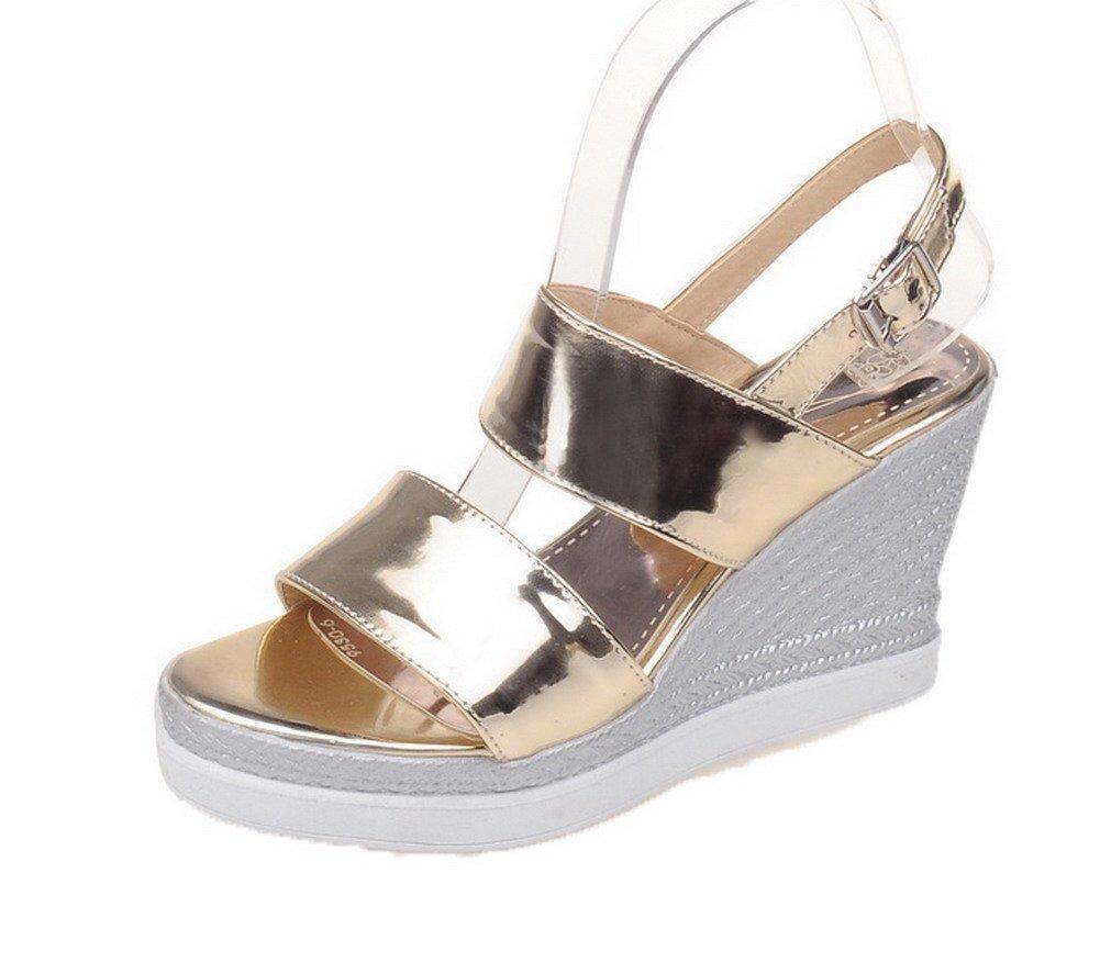 WeiPoot Women's Buckle Pu Open-Toe High-Heels Solid Sandals, EGHLH007216, Gold, 40