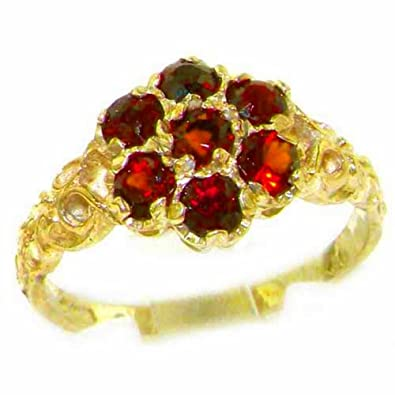 Antique Style Solid Yellow 9ct Gold Natural Ruby Ring with English Hallmarks - Finger Sizes K to Z Available Cr2Lq