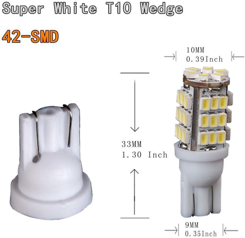 pack of 10 42-SMD YUEKUI 10x T10 T15 42-SMD LED White Super Bright LED Car Lights Bulb 906 579 901 904 908 909 912 914 915 916 917 918 920 921 922 923 926 927 928 939