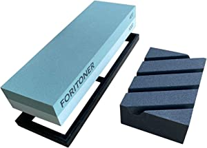 FORITONER Kitchen Knife Tool Handle Natural Water Sharpening Stone Set 400/1000 Grit Whetstone/Non Slip Base/Coarse Black Leveling Flatenner Stone Kit Included