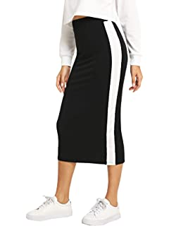 2dad766f85 SheIn Women's Elegant Grid Print High Waist Bodycon Pencil Midi Mid-Calf  Skirt